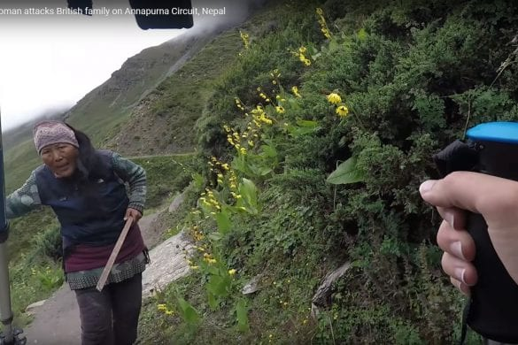 Crazy Nepali woman attacks British family on Annapurna Circuit, Nepal